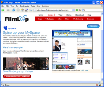 Easy instructions for generating MySpace codes with FilmLoop